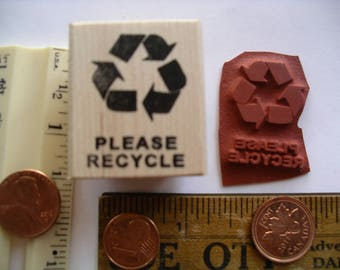 PLEASE RECYCLE three way bent arrows symbol  Rubber stamp   un-mounted or wood mounted