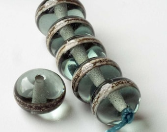 Silver Grey Spacer Beads Handmade Glass Lampwork Made To Order