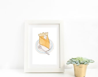Pumpkin Pie Watercolor Art Print, illustration, thanksgiving, hostess gift, kitchen art, baking, baker, pie lover, fall, autumn art