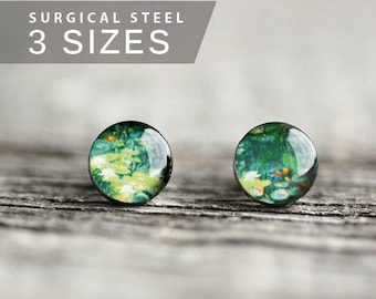 Monet post earrings, Surgical  steel stud, Tiny earring studs, Art stud earrings, Floral earrings