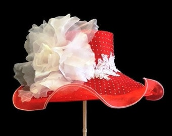"""Kentucky Derby Hat, Easter Hat, Spring Fashion Hat, Sheer Organza Hat in Red and White Polka Dot - """"Flirtatious"""""""