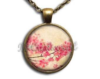 Cherry Blossom Pink Flowers Glass Dome Pendant or with Chain Link Necklace NT138