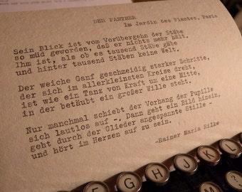 "Typewriter poetry - ""Der Panther"" by Rainer Maria Rilke"