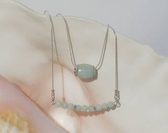 Jadeite and sterling silver layered necklace set