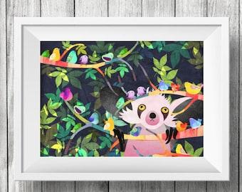 Bashful Aye-Aye, Nursery Animal Wall Art, Kids Room, Birds, Forest Animals, Print
