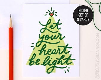 Cute Christmas Cards, Christmas Tree Card, Classic Holiday Card, Xmas Cards, Let your heart be light, Holiday Cards Set of 8 A2 Cards