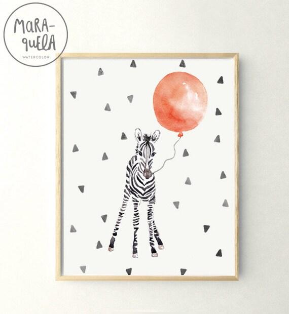 Cebra bebé con globo rojo / Little Zebra and Red balloon