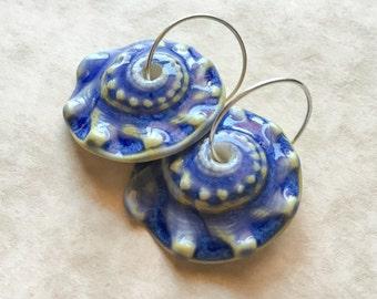 Blue Sunrise Shell Porcelain Earrings-Handcrafted Porcelain-Knobbed Whelk-Ceramic Shell-Artisan Earrings-Spiral-Blue Earrings-Beach Jewelry