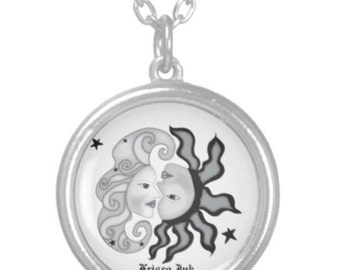 Silver plated Sun, Moon and Stars necklace