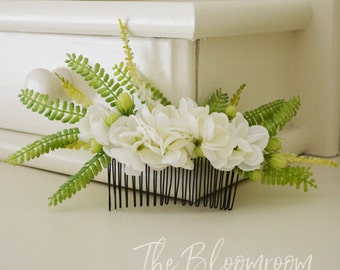 Jasmine Comb, White jasmine, Fern, Flower comb, Bridal flower comb, Silk flower hair comb, Bridal hair comb, Wedding comb, Bridal, Amber