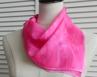 Square silk scarf hand dyed shades of red and pink, ready to ship, silk scarf #554