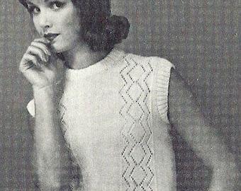 Sleeveless Blouse or sweater Knitting Pattern 726110