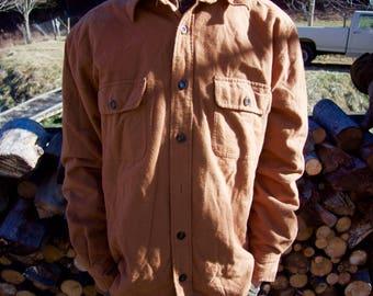 Eddie Bauer men's quilted chamois shirt jacket - Size Large - mustard yellow