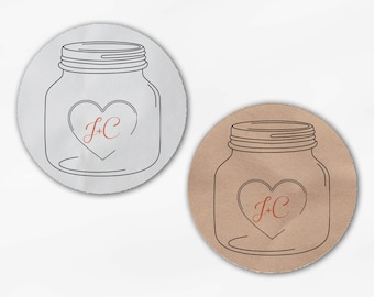 Mason Jar Initials & Heart Wedding Favor Stickers in Coral - Custom White Or Kraft Round Labels for Bag Seals, Envelopes (2027)