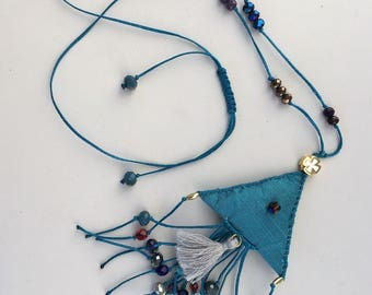 Necklace, Charms, Symbols, Macrame necklace, Handmade, Egst, Talisman , Symbols, Lucky charm, Ancient Greek, Made in Greece, Turcuoise