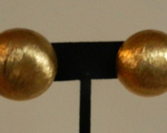 Vintage Italian Brushed Gold Button Earrings Clip On Earrings Signed Italy