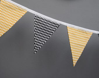 Contemporary monochrome and mustard bunting