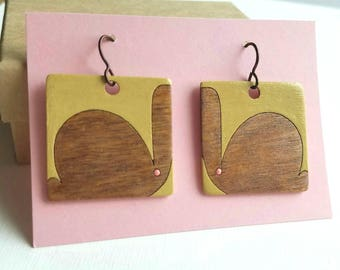 Art Deco Bunny Rabbit Lasercut Wood Earrings - Mustard