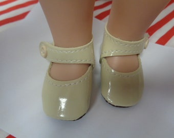 Ivory  Patent Leather Shoes for 14 Inch Dolls- Fits  Wellie Wisher Dolls Only