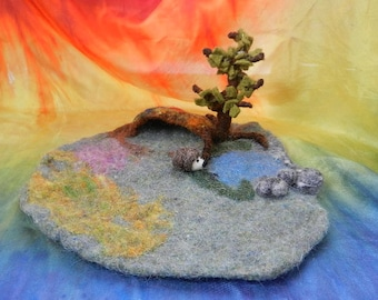 Waldorf felted play scape with hedgehog,Felted play mat,Story telling mat