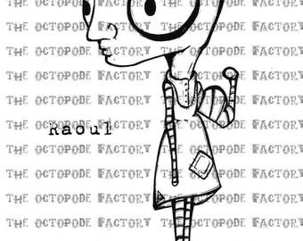 INSTANT DOWNLOAD DADA inspired Gent called Raoul Digital Stamp Image