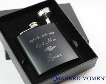 6 Groomsman Flask 3 PIECE GIFT Set - 40 DESIGNS - engraved flask set includes black flask, funnel presentation gift box, an elegant gift