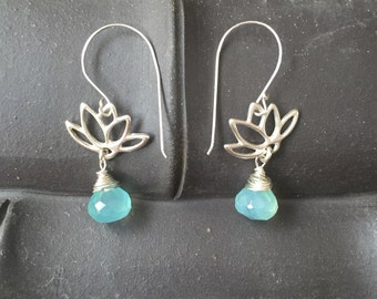 Sterling silver Lotus with Aqua blue faceted chalcedony earring /clean and simple/Yoga Jewelry