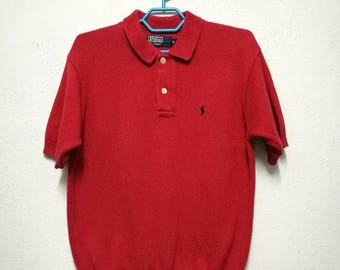 Vintage Polo Ralph Lauren Small Pony Knit Knitwear Polo Shirt