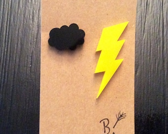 Cloud and Lightning Stud Earrings