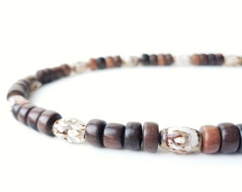 Mens necklace with tribal agate beads - Tibetan Agate
