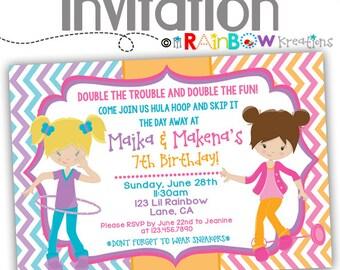 825: DIY - Hula Hoopin and Skip It Party Invitation Or Thank You Card