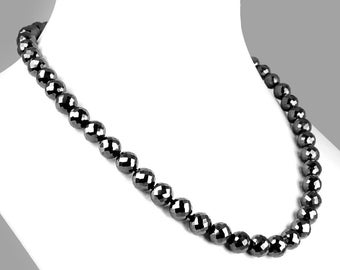 On SALE OFFER 75% Discount Brilliant Quality Genuine Black moissanite Diamond necklace Strand/Beads with silver/golden color clasp optional.