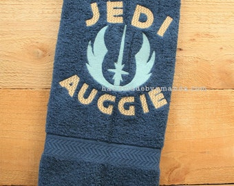 Star wars JEDI symbol and First Name monogram hand towel - Great gift for Young Jedi or Star Wars fan - Jedi Towel - Young Jedi in training