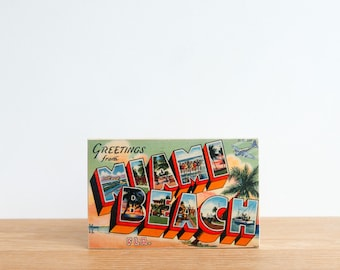 Americana Vintage Postcard Art Block 'Greetings from Miami Beach' - miami beach postcard, vintage miami, postcard typography