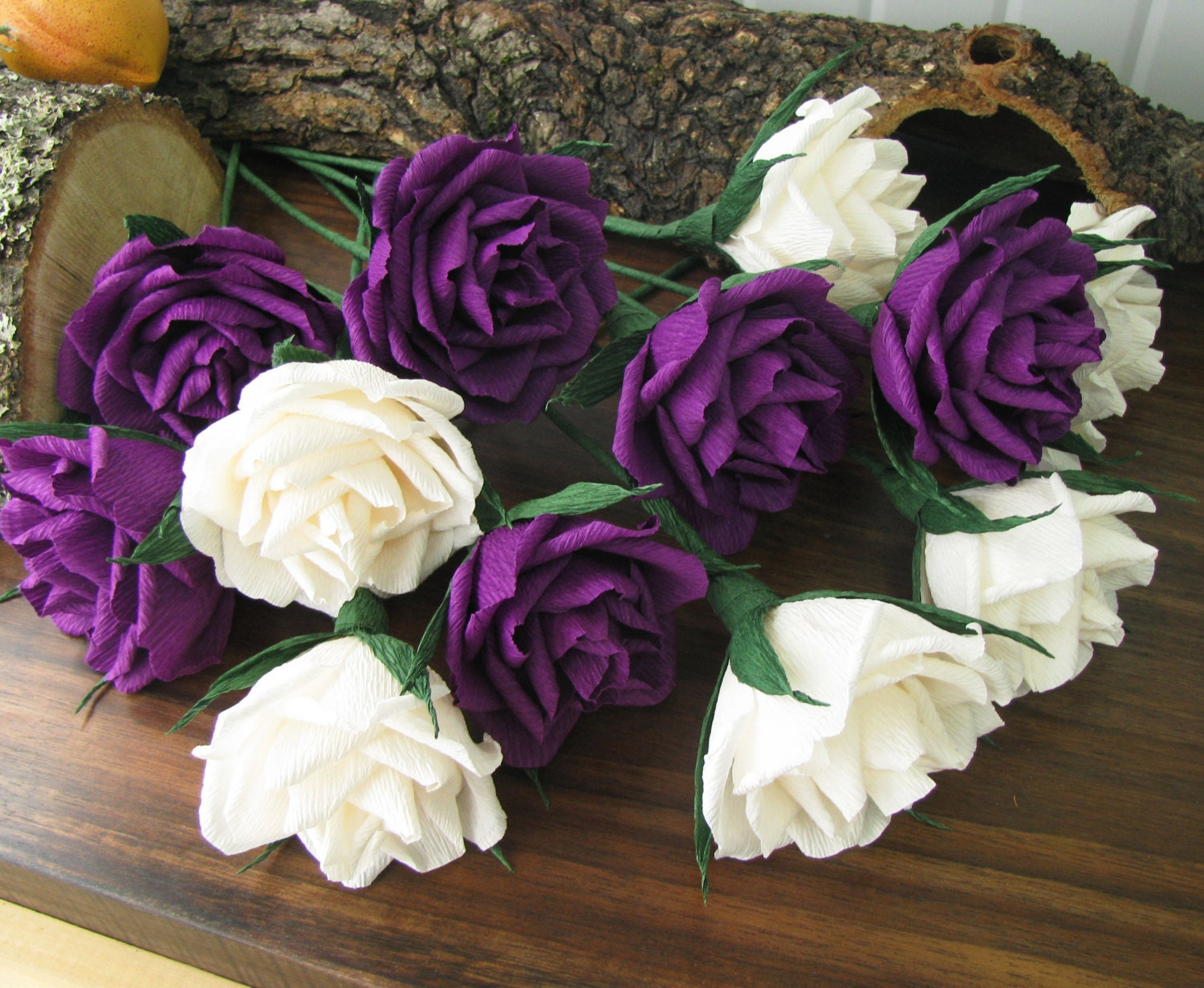 Paper flower ivory purple roses bridal bouquet crepe zoom izmirmasajfo Choice Image