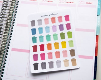 Trash Can Regular size (matte planner stickers, perfect for planners)
