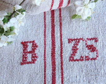 FP 479 :antique grain sack, CHERRY Red, 49.61 long,holiday feeling pillow cushion, decor, french lin tablerunner, upholstery, old linen