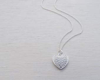 Silver Heart Necklace With Cubic Zirconia, Sterling Silver