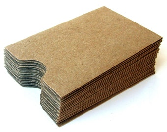"20 Mini Natural Kraft Card Sleeves . Brown Bag Sleeve Envelopes . 2.25"" x 3.625"""