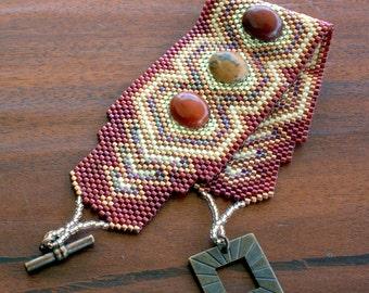 Bracelet en perles - Bracelet en perles sud-ouest - Peyote perles Perles Delica OOAK - améthyste