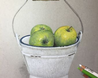 Pastel Drawing - Still Life with Apples