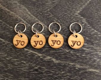 Stitch markers for knitting - Yarn over - Acrylic Increase - set of 4