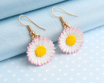 Lawn Daisy Dropper Earring in a choice of metal finish