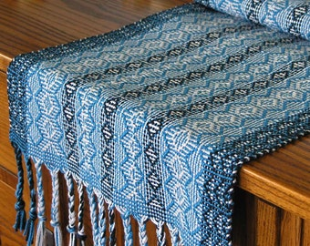 Table Runner Handwoven Table Runner Blue Runner Decor Unique Gift Unique Handmade Runner by FiberFusion - Blue River