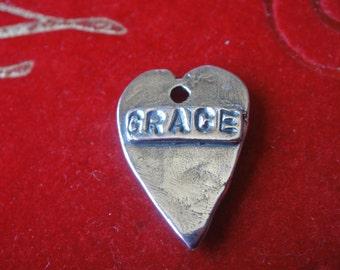 925 sterling silver oxidized heart GRACE,silver heart, praying heart, wisdome words heart, GRACE