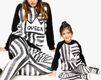 Mommy And Me Outfit, Mother And Daughter Matching Set, Mothers Day Gift, Women Leggings, Gift For Mother, Striped Leggings, Girl Leggings