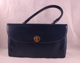 Vintage Blue Vinyl Purse/Handbag with Goldtone Clasp