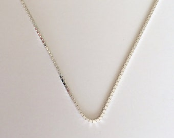 """Sterling Silver Box Chain, 18"""", 20"""" Sterling Silver Necklace, 1.0mm Sterling Silver Box Chain"""