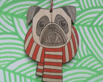 Pug in a scarf decoration