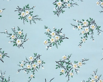 1950's Vintage Wallpaper - Black Twigs and White Flowers on Blue